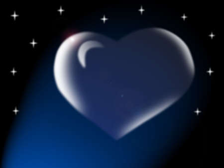 Glass transparent heart on a background of the star sky
