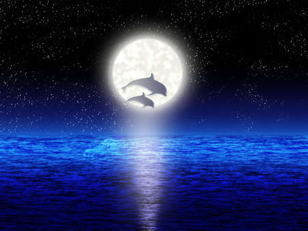 Pair jumping dolphin on background of the full moon