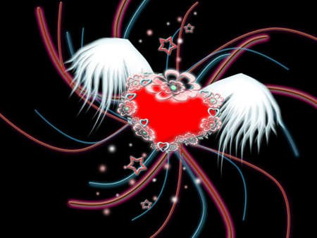blend: Winged heart on background abstract line