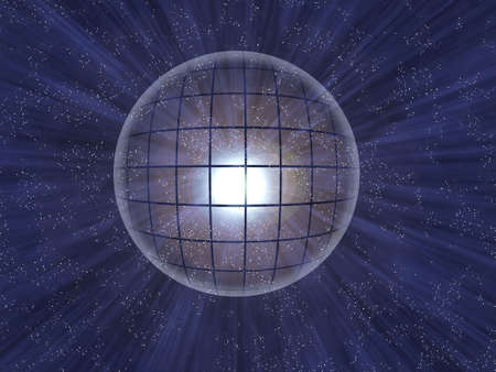 fortunetelling: Glass transparent luminous ball on background starry space