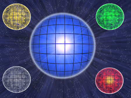 Five colour transparent luminous balls on background starry space Stock Photo