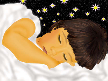 Sleeping child in beds on background starry sky Stock Photo