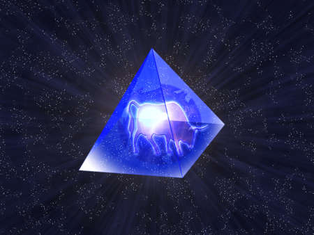 inwardly: New years oxen inwardly transparent pyramid on background starry sky Stock Photo