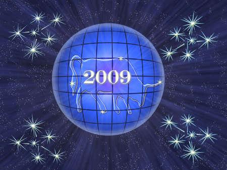 inwardly: Symbol of the new years oxen inwardly transparent luminous ball Stock Photo