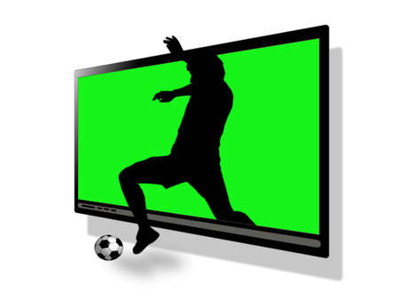kick out: silhouette of the soccer player jump out for ball from television set