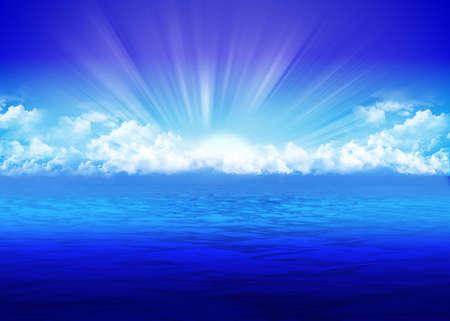 Beautiful seascape with rising sun photo