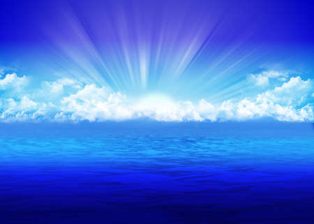 Beautiful seascape with rising sun Stock Photo
