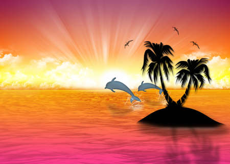 Beautiful sea background  rising sun