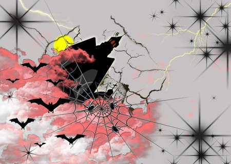 Abstract postcard on Halloween with bats, spider and black lock photo