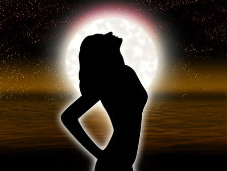 Solitary woman by gesture expresses despair on background of the full moon
