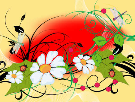 colorful year flowerses and insect -an illustration