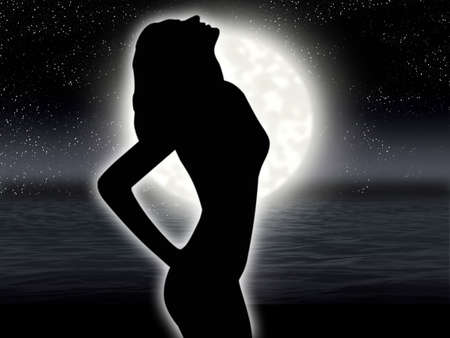 Solitary woman by gesture expresses despair on background of the full moon photo