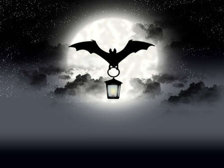 Flight bat on background of the full moon Stock Photo