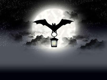 Flight bat on background of the full moon Stock Photo
