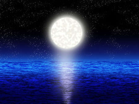 boundless: Boundless blue sea with full moon in the night