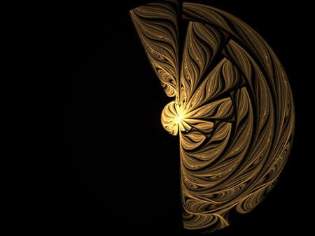 briliance: Abstract golden disk on black background