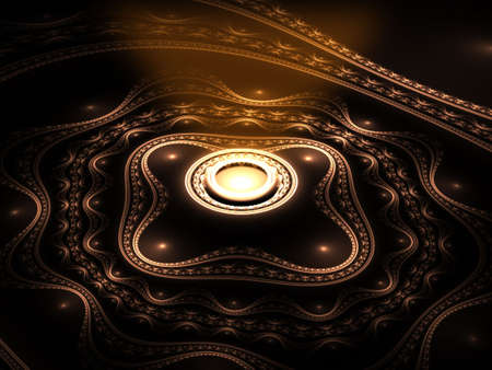 Abstract magic golden source of the light on black background photo