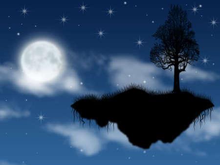 noche estrellada: isla fantástica al vapor en el cielo en la luna llena en la noche  Foto de archivo