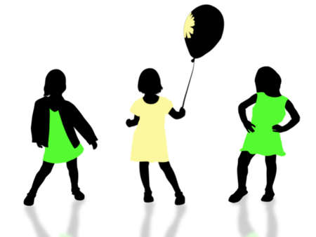 tots: three silhouettes small girls on white background Stock Photo
