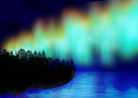 Arctic glow on timber island seaborne