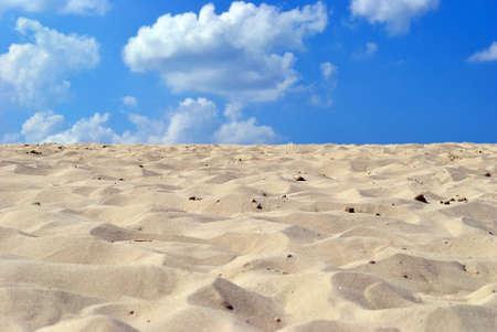 dune: Arena limpia de mar amarillo sobre fondo azul cielo.