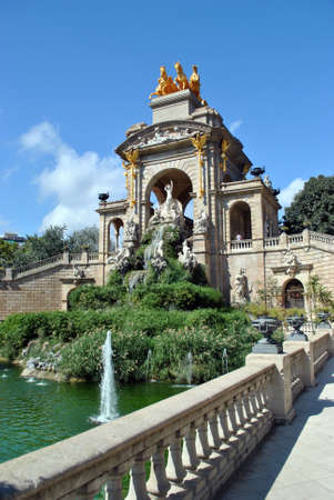 background waterfalls: Fountain in Parc De la Ciutadella in Barcelona, Spain.