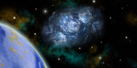 astronautics: the planet land and nebula in outer spaces.