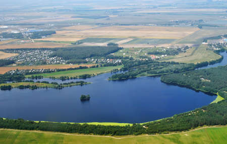 landscape photo from the plane of Belarus  Stock Photo