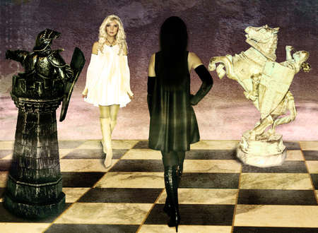 opposition of black and white chess queens on a chessboard. photo