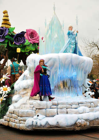 disneyland: Cold Heart cartoon characters on parade at Disneyland Paris.