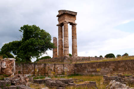 columns of the Temple of Apollo. Ruins of the upper acropolis in Rhodes on Monte Smith. photo