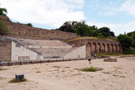 oratoria: Escuela de teatro de la antig�edad de la oratoria de Rodas en el Monte Smith. Teatro restaurado a su forma original. Foto de archivo