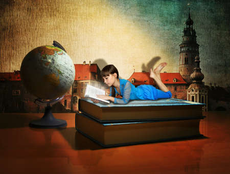 teenage girl reading a book and dreaming about travel. collage photo
