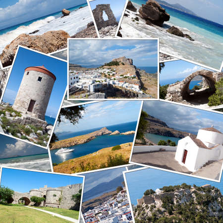 background with travel photos of the island of Rhodes in Greece photo