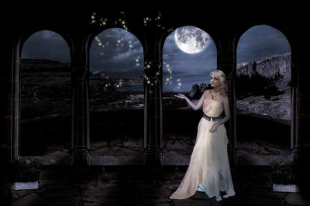 night magic  landscape of fantasy girl in the castle. collage