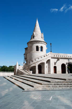 bastion: landmark in Budapest. Fishermens Bastion. Hungary.