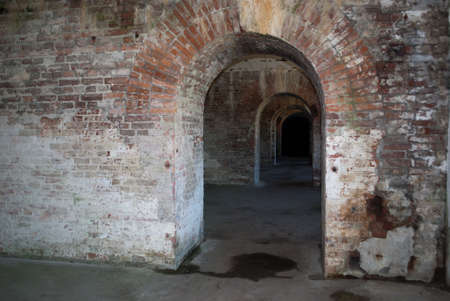 barracks: Old brick corridors military barracks