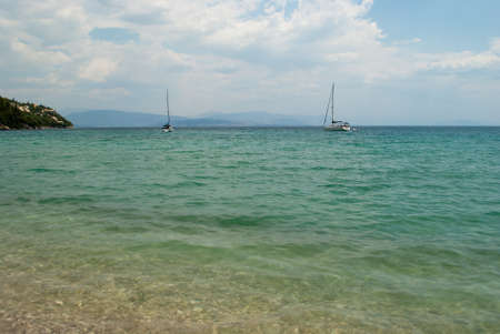 Beautiful mountain landscape with the Greek island of Corfu.