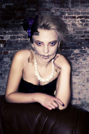 close-up portrait of woman in halloween