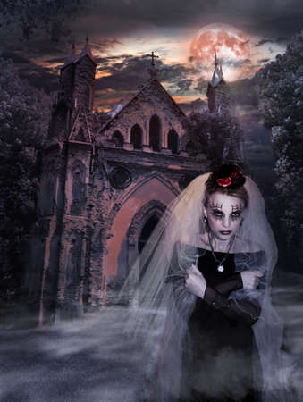 woman ghost in a wedding veil against the background of an old castle at night. Stock Photo