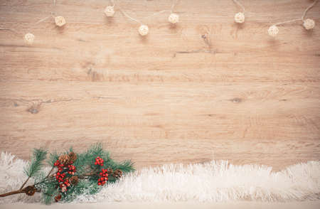 blank space for New Years greetings on a wooden background