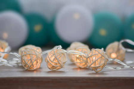 Bokeh background of electric garland decorations