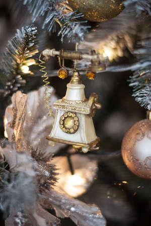 festive retro decoration telephone on christmas background