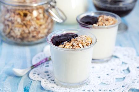 yogur: Dos pequeñas jarras con yogur casero con mermelada de grosella negra y granola semillas de girasol, maíz, avena y cebada copos y nueces, enfoque selectivo