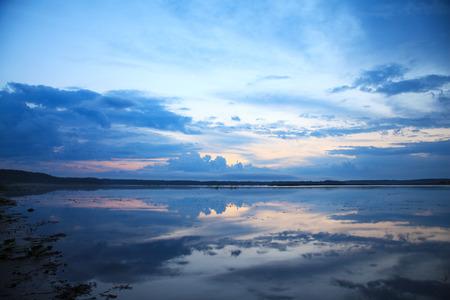 pra: Sunset on the River Pra, Russia, nature reserve Meschera Stock Photo