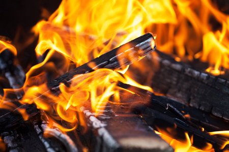 voile: Wood fire with ash, Closeup Stock Photo