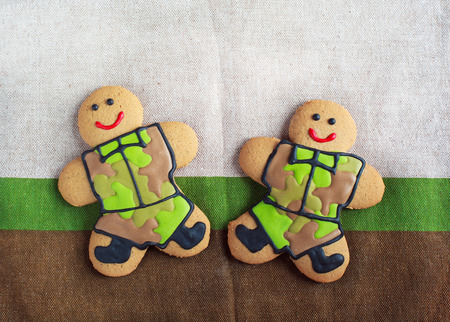 defender: Homemade Gingerbread men in protective khaki uniforms on Defender of the Fatherland Day Stock Photo