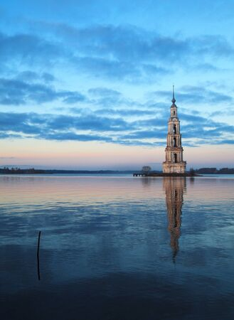 belltower: Famous and Beautiful Flooded Belltower on the River Volga at sunset. Kalyazin, Russia