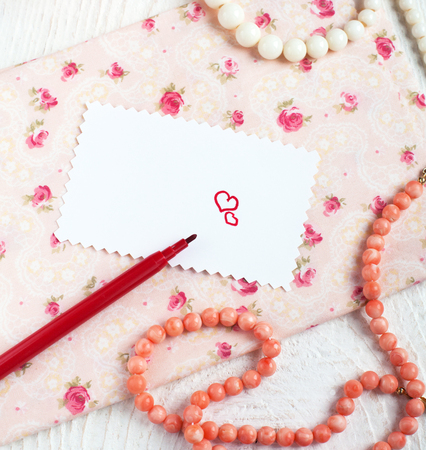 saint valentine   s day: Saint Valentines Love letter, hearts and red felt pen in romantic style Stock Photo