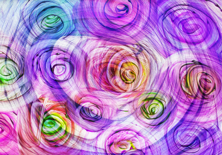 roses and blood: art abstract bright rainbow oil pattern background in purple, blue and green colors in the shape of flowers